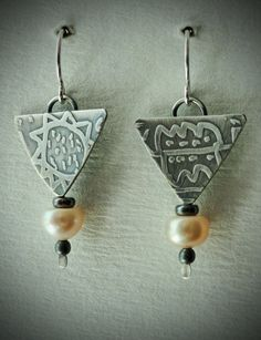 Sterling Silver and Peach Button Freshwater by gailheftimetalsmith $60.