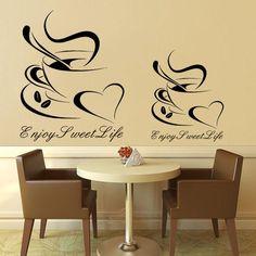 Art design cheap vinyl home decoration heart coffee cup wall sticker house decor beautiful bar decal in kitchen bar or shop
