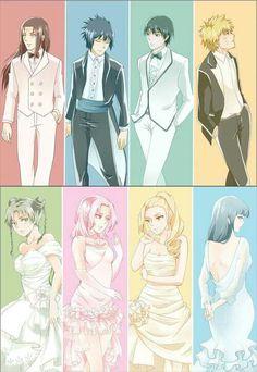 Neji, Sasuke, Sai, Naruto, Tenten, Sakura, Ino, Hinata, suits, dressed, cute, couples; Naruto