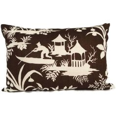 SALE Robert Allen Brown and White Chinese Toile Decorative Pillow Cover, 18x18, 20x20, 14x20 or 12x24