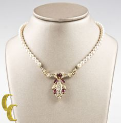 18k Yellow Gold Unique Diamond/Ruby Pendant w/ Pearl Strand and Gold Clasp #Unbranded #Pendant
