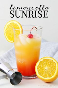Sunrise Add this Limoncello Sunrise to your weekend brunch menu! It's a great alternative to Mimosas or a Bloody Mary.Add this Limoncello Sunrise to your weekend brunch menu! It's a great alternative to Mimosas or a Bloody Mary. Party Drinks, Cocktail Drinks, Fun Drinks, Yummy Drinks, Mixed Drinks, Cosmo Cocktail, Italian Cocktails, Fruity Drinks, Limoncello Drinks