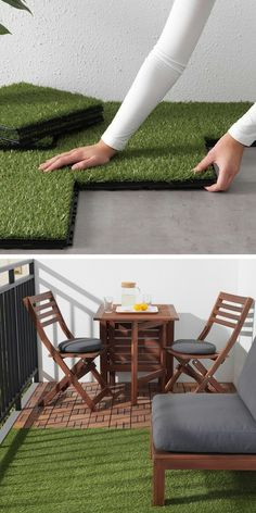 Put artificial turf on a small balcony and combine it with slabs of . Poser du gazon artificiel sur un petit balcon et le combiner avec des dalles en … Put artificial turf on a small balcony and combine it with wooden slabs to define different Small Balcony Design, Small Balcony Garden, Small Balcony Decor, Small Patio, Balcony Ideas, Small Balconies, Modern Balcony, Balcony Gardening, Patio Ideas