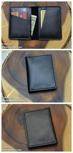 This slim black leather wallet holds everything you need without weighing you down. Four card slots will carry cards, cash, ID, and any other documents. The bi fold design keeps it thin and portable, while the quality materials give it a professional appearance.