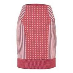 Style your waist with this Philosophy Fitted stripe and print pink skirt with 100% Polyester fabric.