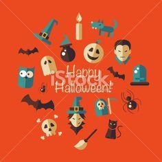stock-illustration-48964452-illustration-of-flat-design-halloween-composition.jpg (380×380)