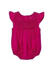 Baby girls lace yoke all-in-one
