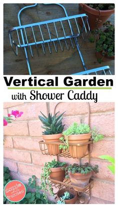 How to use a bathroom shower caddy into a shower caddy vertical planter. Perfect for small spaces, urban gardens and outdoor wall gardening. garden decor diy How to Use a Shower Caddy as a Vertical Planter Diy Gardening, Garden Crafts, Garden Projects, Organic Gardening, Container Gardening, Easy Projects, Garden Art, Garden Design, Gardening Courses