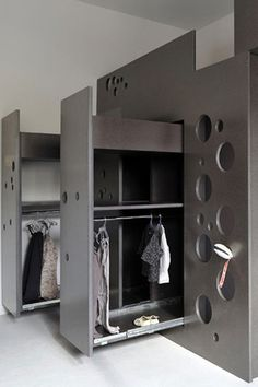 Deep closet in combination with high bed                                                                                                                                                                                 More