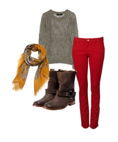 Perfect outfit...love the boots and red skinny jeans