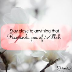 hijabiz: Stay close to anything that reminds you of Allah - Islamic Quotes