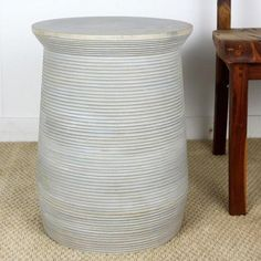 End table round grooved mango wood 15 inch x 20 inch #Thai furniture. Available in an agate grey or mocha brown finish.
