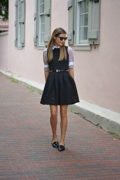 button up shirt under lbd                                                                                                                                                                                 More
