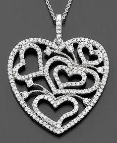 Effy Collection Diamond Necklace, 14k White Gold Diamond Hearts (1-1/10 ct. t.w.)