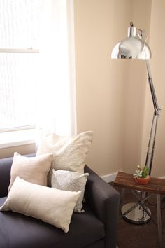 Love it all. Especially the lamp. Walls are Benjamin Moore-Cork.