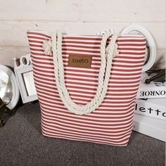 Girl Leisure Summer Canvas Shopper Shoulder Bag Striped Beach Bags Big Capacity Tote Women Ladies Casual Shopping Handbag Bolsa