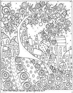 Rug Hook Craft Paper Pattern Swirl Tree Bird and Houses Folk Art Abstract Karlag | eBay