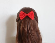 red fabric hair bow clip, red bow