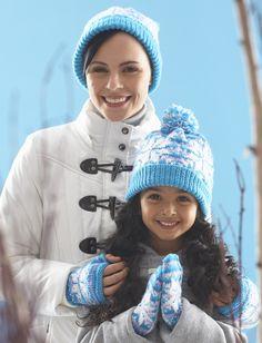 Yarnspirations.com - Patons Snowflake Hat and Mittens - Patterns  | Yarnspirations