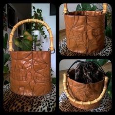 Tiki bag with bamboo handle and leopard lining - selfdesigned, handmade Bamboo, Handle, Creative, Bags, Instagram, Handbags, Door Knob, Bag, Totes