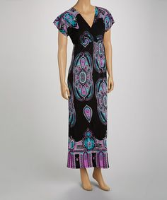 Love this Lavender & Black Paisley Cap-Sleeve Maxi Dress - Women by jon & anna on #zulily! #zulilyfinds
