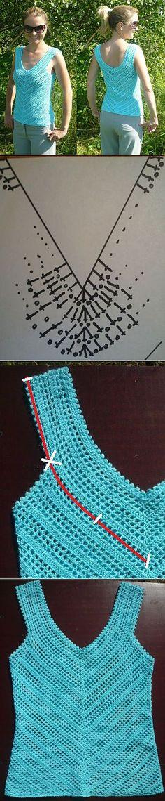 Вязание крючком майки-топа по диагонали филейной сеткой — Красивые Модные Вязаные Крючком Купальники, Топы, Туники