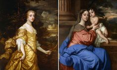 Frances Stuart, left, and Barbara Villiers with her son in portraits by Peter Lely.     Photographs: Royal Collection and National Portrait Gallery