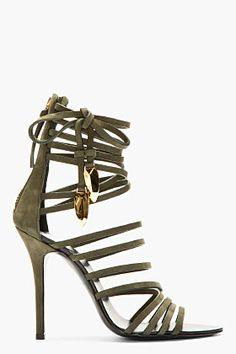 GIUSEPPE ZANOTTI Olive Nubuck Gladiator Heels