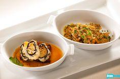 Takashi Yagihashi's Agedashi Tofu and Eggplant with a Veggie Somen Noodle Roll and Agedashi Tofu and Eggplant with Pork, Ginger and Japanese Mushrooms