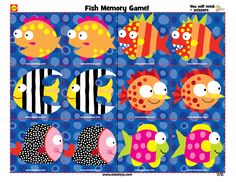 Printable fish memory game for toddlers #ece #crafts #kids