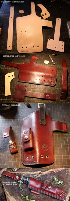 Custom Sheath by Sonni - a few of the construction stages