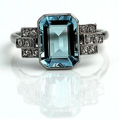 Art Deco Diamond and Aquamarine Engagement Ring