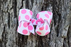 hot pink polka dot boutique hair bow  baby girl  thebugandbee.etsy.com