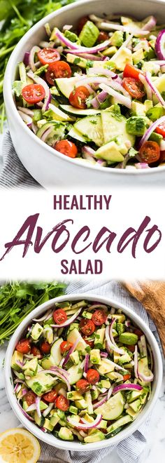This Avocado Salad recipe is a healthy fresh and insanely addicting side dish perfect for bbqs potlucks and get togethers! Ready in only 10 minutes this dish is low carb gluten free paleo vegetarian and vegan. Mexican Side Dishes, Side Dishes For Bbq, Summer Side Dishes, Low Carb Side Dishes, Healthy Side Dishes, Vegetable Side Dishes, Side Dish Recipes, Potluck Recipes, Easy Potluck Side Dishes