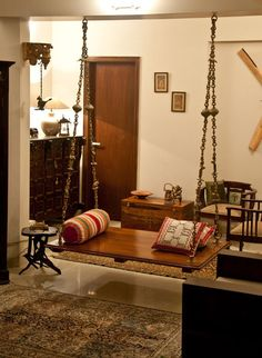 Oonjal – Wooden Swings in South Indian HomesYou can find indian homes and more on our website.Oonjal – Wooden Swings in South Indian Homes Indian Home Design, Indian Interior Design, Traditional Interior, Asian Interior, Simple Interior, Ethnic Home Decor, Asian Home Decor, Ideas Vintage, Vintage Design