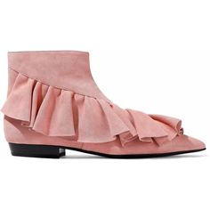 J.W.Anderson Woman Ruffled Suede Ankle Boots Bubblegum Size 40