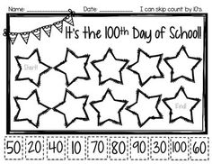 Day of School Freebie skip counting by to 100 Days Of School, School Holidays, School Stuff, Holidays Events, Counting By 10, 100s Day, 100 Day Celebration, Hundred Days, 2 Kind