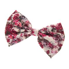 Berry and Wine Floral Print Bow Hair Clip