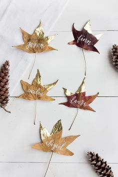 DIY thanksgiving decorations leaf place cards