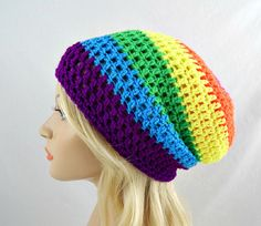 Neon Rainbow Slouchy Beanie, Womens Crochet Slouchy Hat, Slouchy Winter Hat, Neon Rainbow Crochet Beanie, Neon Rainbow Crochet Hat
