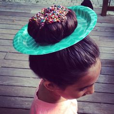 Went to school with a donut on her head this morning! Love that crazy girl! #wackyhairday