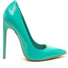 Totally Timeless Faux Patent Pumps AQUA ($27) ❤ liked on Polyvore featuring shoes, pumps, heel's, blue, pointy toe stiletto pumps, blue pointed toe pumps, high heel shoes, high heel stilettos and aqua shoes