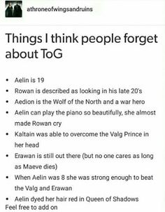 Things people need to be reminded about in TOG