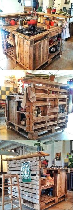 As you know, the kitchen is a place where too much storage space is required and the recycled wood pallet kitchen Island idea by Les Palettes du Coeur is a great one for those who have too many items in the kitchen to store. It contains multiple shelves and drawers as well.