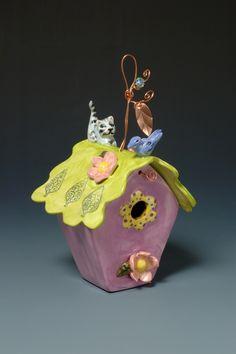 Fun Kitty birdhouse, all handmade by Marissa Motto