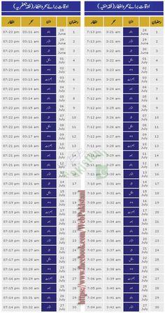 Ramadan Calendar 2014 With Sehr-O-Iftar Timing