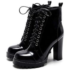 14f978d745dda2 Mabaiwan Fashion British Women Ankle Boots Patent Leather Platform Short  Booties Chunky High Heels Lace Up Autumn Winter Boot. Monica Jacobs