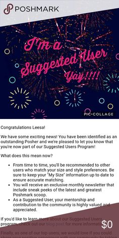 I'm a Suggested User❣ I'm honored and excited to announce that I'm a Suggested User as of 1.17.17 🎉  Huge thanks to all my Posh friends for shopping, sharing, and supporting my closet 💕 Other