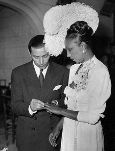 Josephine Baker marrying bandleader Joe Bouillon in Paris on April 6, 1947.