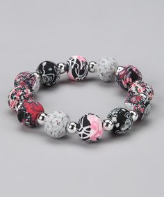 Take a look at this Candy Apple Chunky Silver Ball Stretch Bracelet by Viva Beads on #zulily today!